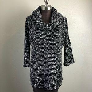 LOFT Black and White Cowl Neck Sweater L/XL